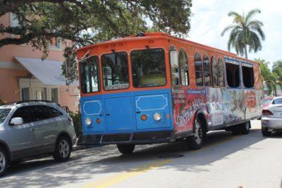 The Naples Trolley Tour on Third Street South, Naples, Florida.