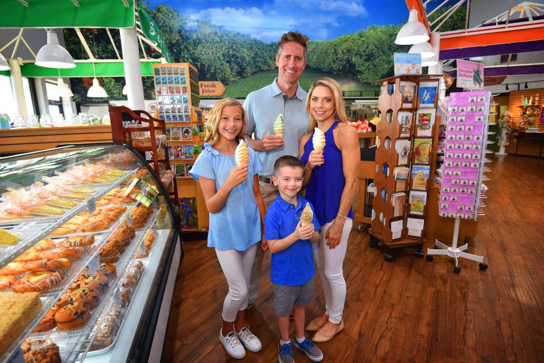 Enjoy an Orange Swirl ice-cream cone as Sun Harvest Citrus Fort Myers, Florida.