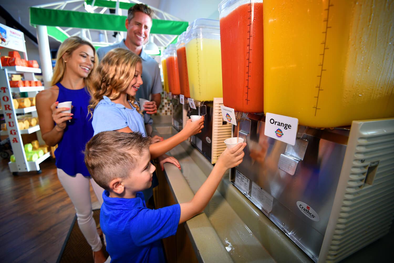 Enjoy fresh squeezed Florida orange juice at Sun Harvest Citrus, Fort Myers, Florida shopping