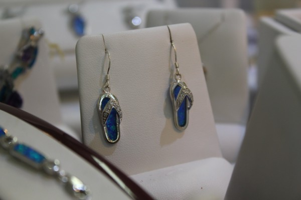 Sterling Silver and opal flip flop earring at Barbie's Created Gems II St. Armands Circle, Florida
