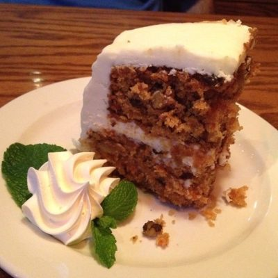 Drunken Parrott Carrot Cake Doc Ford's Rum Bar & Grille Fort Myers, Florida.