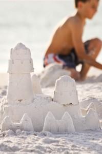 MustDo.com | Siesta Beach white sand sandcastle Siesta Key - Sarasota, Florida USA.