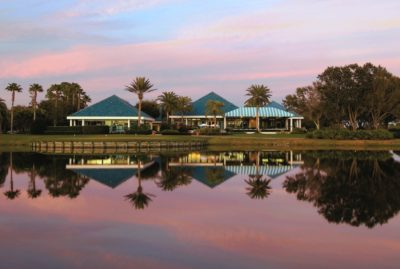 University Park Country Club Pro Shop and Club house at dusk in Sarasota, Florida.