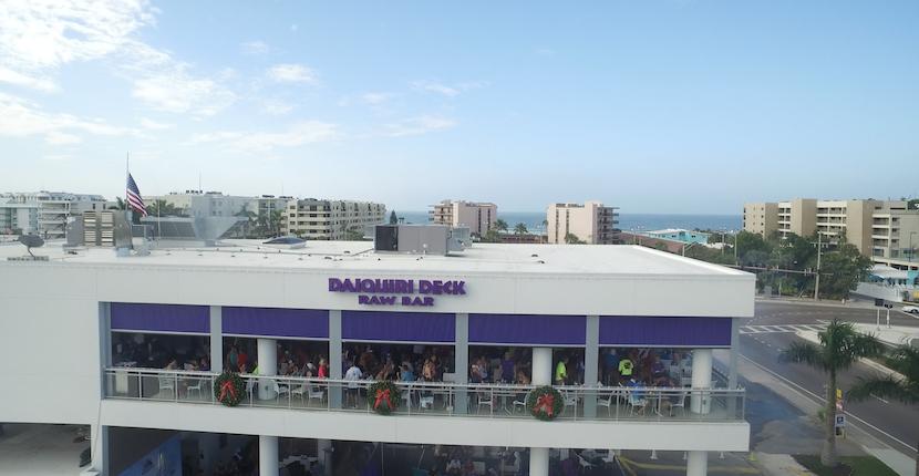 Aerial view of Daiquiri Deck Raw Bar South Siesta Key, Florida.