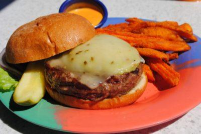 Daiquiri Deck Raw Bar cheese burger with sweet potato fries