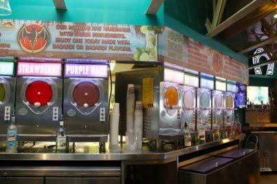 Daiquiri Deck Raw Bar wall of frozen daiquiri machines St. Armands Circle Sarasota, Florida
