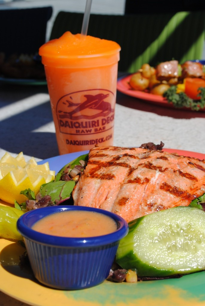 MustDo.com | Daiquiri Deck Raw Bar grilled salmon and frozen daiquiri