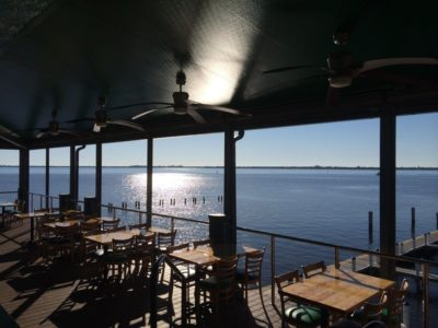 Pinchers Crab Shack restaurant waterfront deck The Marina at Edison Ford Ft. Myers Florida