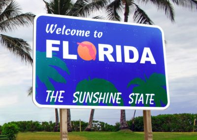 Welcome to Florida The Sunshine State highway sign