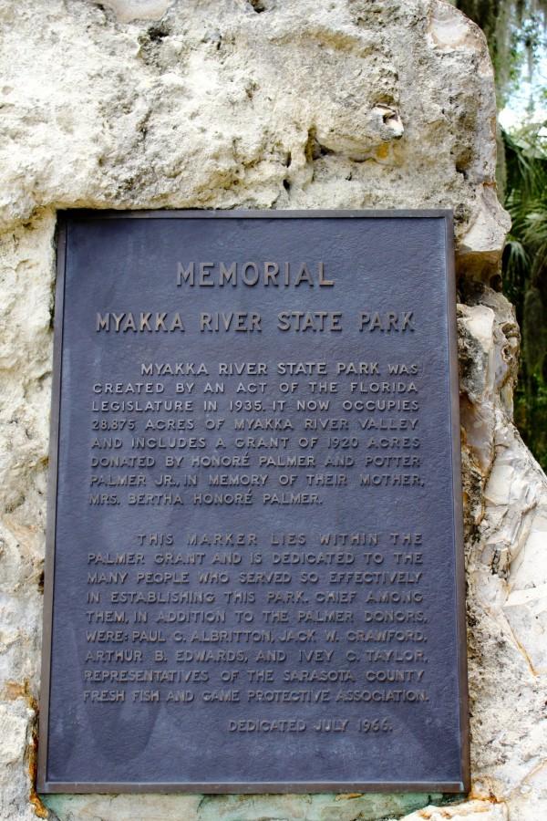 Memorial plaque at Myakka River State Park Sarasota, Florida. Must Do Visitor Guides | MustDo.com