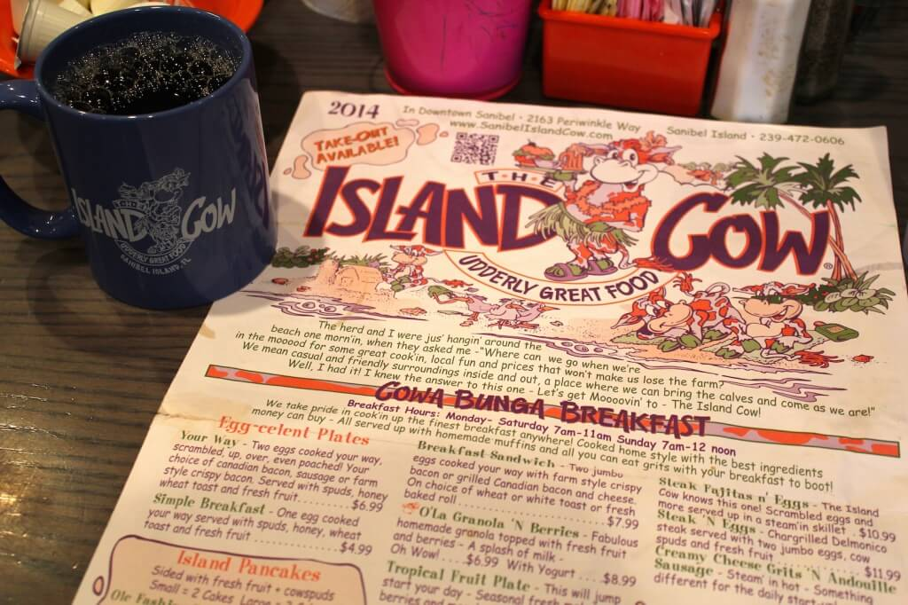 MustDo.com | The Island Cow restaurant menu features 300+ menu items! Sanibel Island, Florida