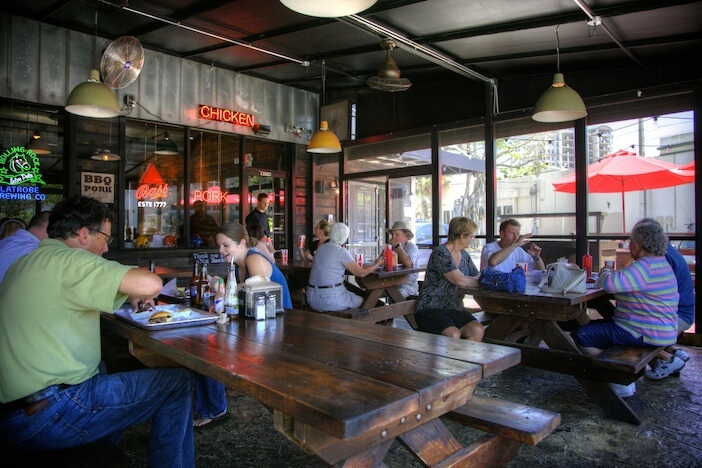 "MustDo.com | Outdoor dining at Nancy's Bar-B-Q Sarasota, FL - voted ""Best Barbecue"" by locals."