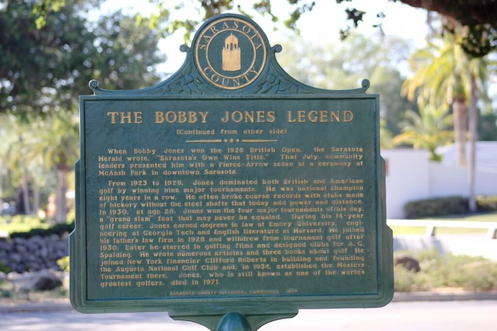 MustDo.com | The Legend of Bobby Jones historical marker Bobby Jones Golf Club, Sarasota, FL