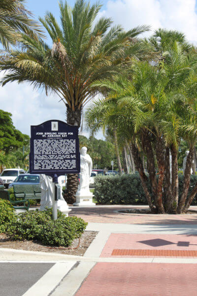 Must Do.com | John Ringling plaque St. Armands Circle Sarasota, Florida USA. Must Do Visitor Guides | Photo by Nita Ettinger
