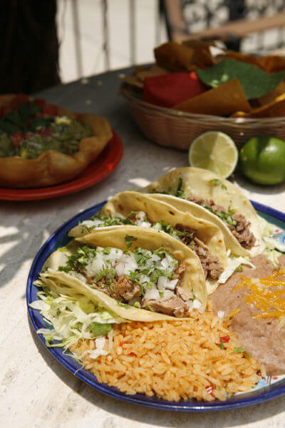 MustDo.com | Authentic Mexican tacos, beans and rice at Mi Pueblo Mexican restaurant Sarasota and Venice, Florida.