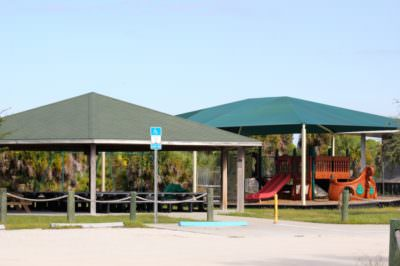 Fantastic playground and covered pavilion at Caspersen Beach Venice, Florida. Must Do Visitor Guides, MustDo.com.