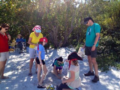 MustDo.com | Families enjoy the Pirate Scavenger Hunt with Captain Bubby's IsLAND Tours Sanibel Island, Florida.