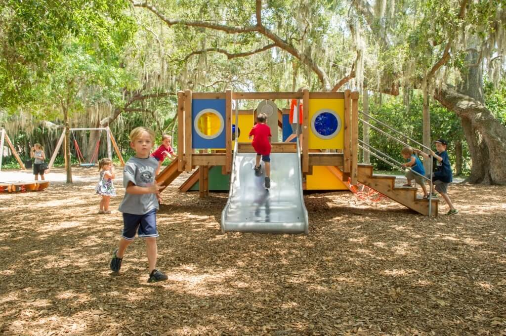 MustDo.com | Sarasota Bayfront patio at Ca d Zan Mansion, the former home of John & Mable Ringling. The Ringling Museum Sarasota, FL. Photo credit Debi Pittman Wilkey.Family fun activities at the Bolger Playspace kids playground at The Ringling Sarasota, Florida