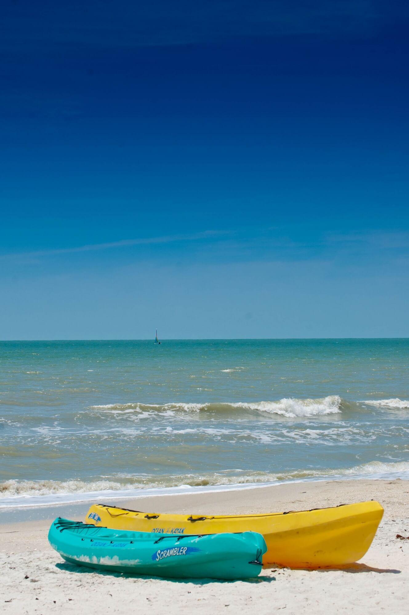 MustDo.com | Clam Pass Beach kayaks and Gulf of Mexico Naples, Florida. Photo by Debi Pittman Wilkey.