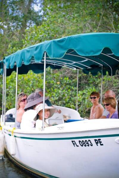 MustDo.com | Take a guided tour of the Gordon River aboard a Conservancy of Southwest Florida Nature Center electric boat Naples, FL
