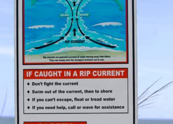 Beach Rip Currents Beach Safety Sign.