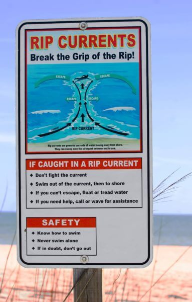 Beach Rip Currents Beach Safety Sign.