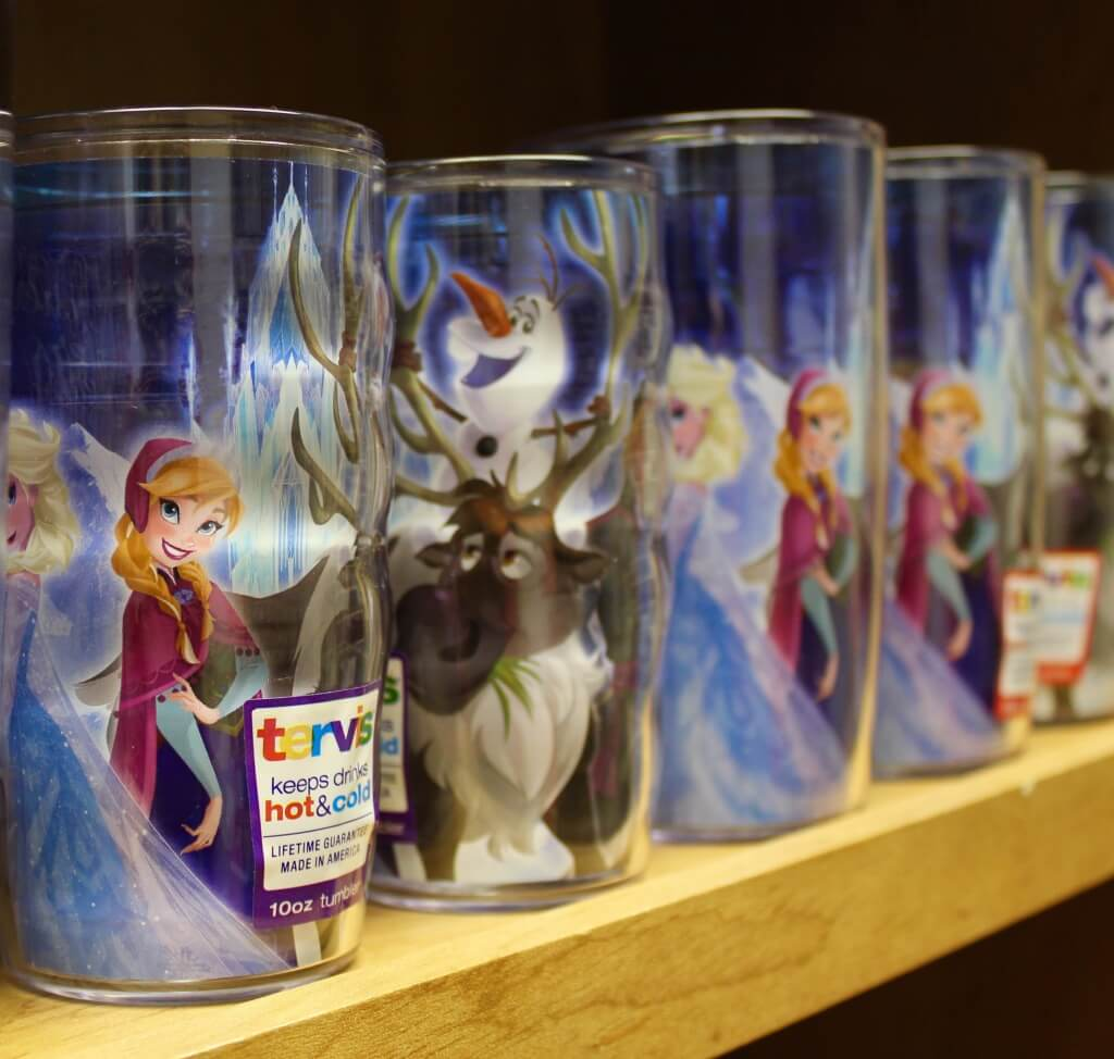 Frozen Disney characters on Tervis tumbler cups at Tervis Factory Outlet in Osprey, FL
