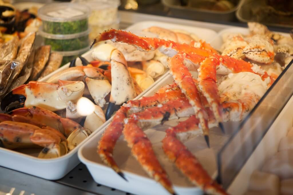 Stone crab and crab legs from Captain & Krewe Seafood Market Naples, Florida.