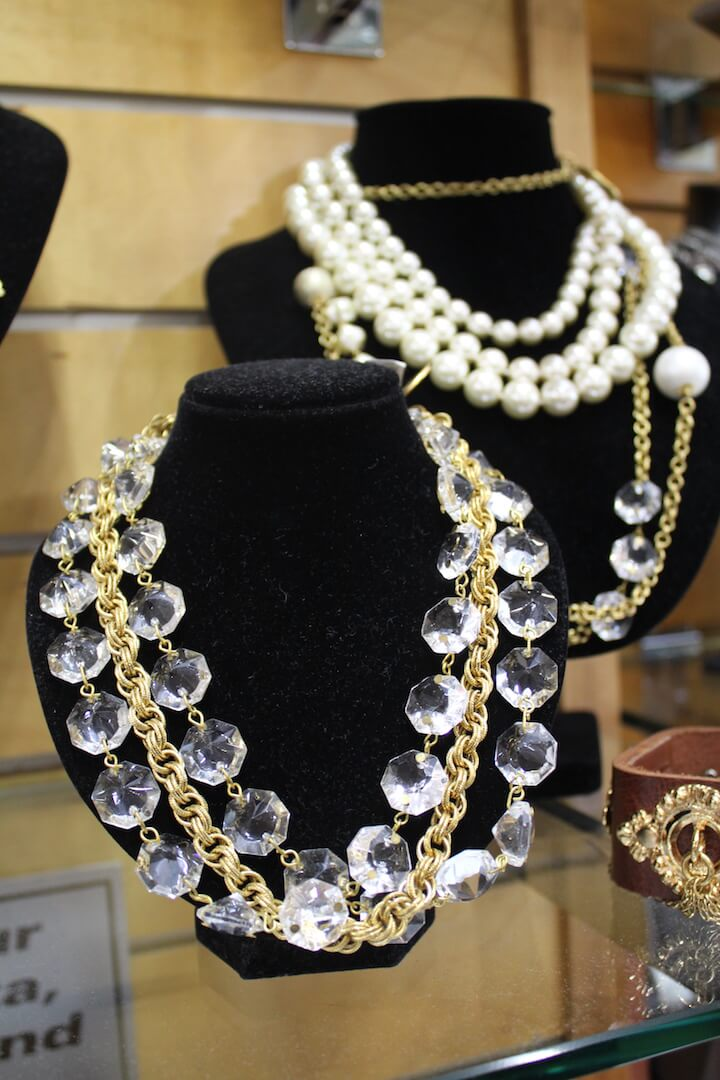 Gold, pearl and crystal beaded statement necklace Foxy Lady womens boutique Siesta Key and Sarasota, Florida. Must Do Visitor Guides, MustDo.com.