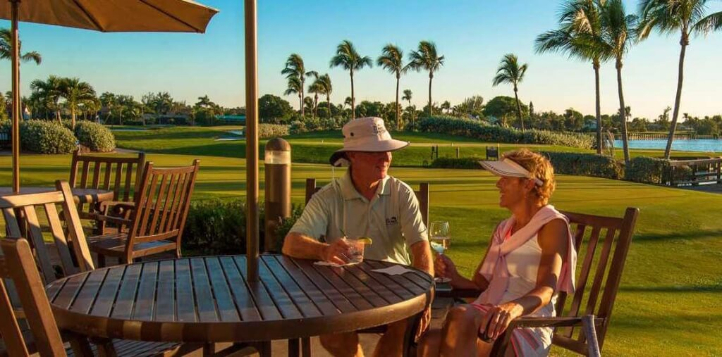 MustDo.com | Post round drink at Club House at The Dunes Golf & Tennis Club Sanibel, FL
