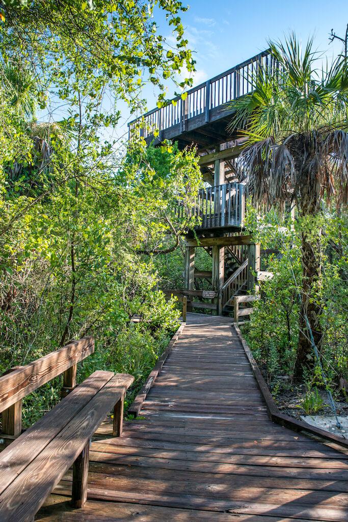 MustDo.com | Nature boardwalk observation tower Delnor Wiggins Pass State Park Naples, Florida. Photo by Jennifer Brinkman.