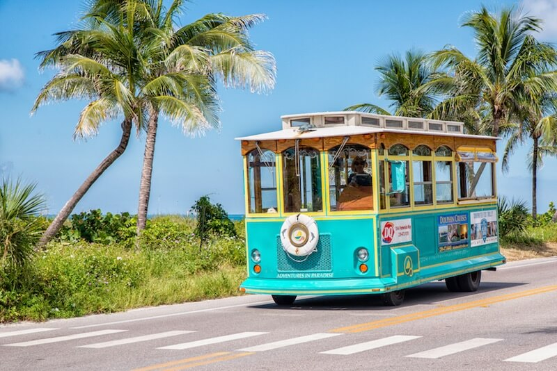 MustDo.com | Visitors can join the narrated Sanibel Historic Trolley Tour that runs all over Sanibel Island, near Fort Myers, Florida.
