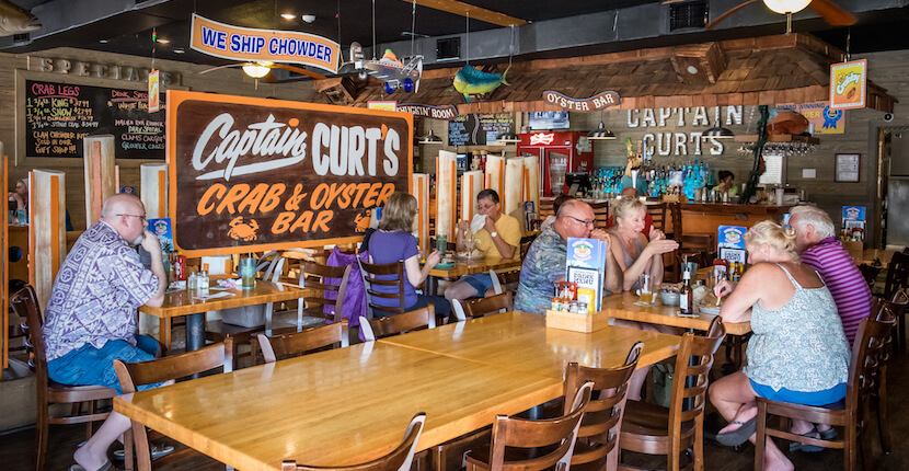 Captain Curt's South Siesta Key Bar and Restaurant Features Nightly Entertainment Dozens of TVs offer an opportunity to watch your favorite sporting events. Photo by Mary Carol Fitzgerald. Must Do Visitor Guides, MustDo.com