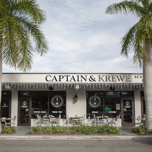 MustDo.com | Captain & Krewe Seafood Market and Raw Bar downtown Naples, Florida offer lunch, dinner, and Happy Hour served in a friendly atmosphere. Photo by Mary Carol Fitzgerald.
