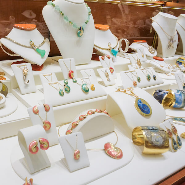 Cedar Chest Fine Jewelry shop on Sanibel features an exclusive selection of unique and original sea life and nature-themed jewelry. Photo by Mary Carol Fitzgerald.