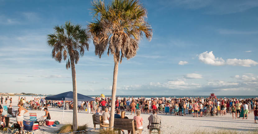 Each Sunday there is a drum circle on Siesta Beach on Siesta Key in Sarasota, Florida. Must Do Visitor Guides, MustDo.com
