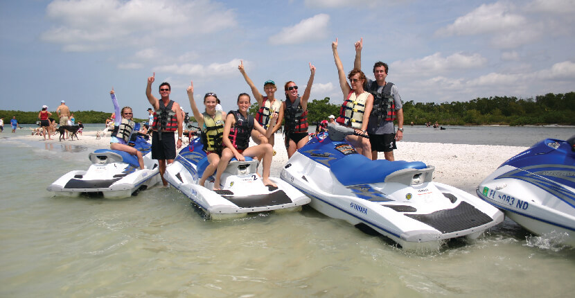 MustDo.com | Holiday Water Sports jet ski rentals and tours, parasailing, boat, kayak, SUP, and other family fun beach activities Fort Myers Beach, Florida. Must Do Visitor Guides Florida vacation information.