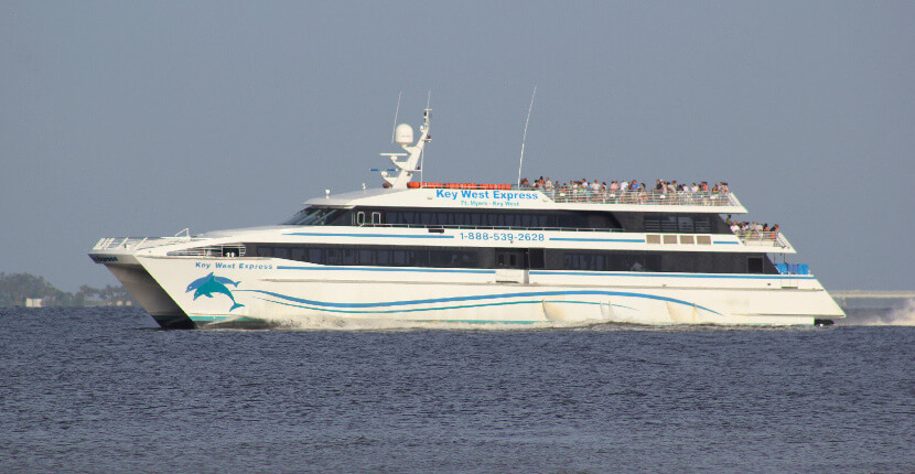 MustDo.com | Passengers leave in the morning and are in Key West, Florida for lunch when traveling aboard the jet-powered vessels of Key West Express. Ferry's depart from Ft. Myers and Marco Island early each morning and return in the early evening the same day.