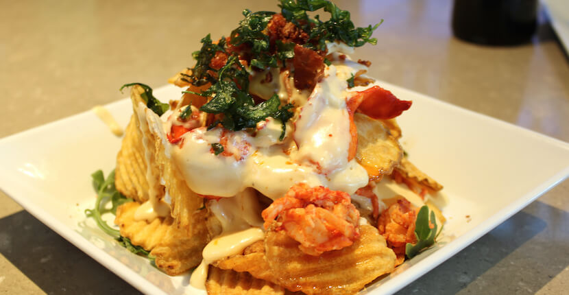 Loaded lobster chips, Fins at Sharky's waterfront restaurant Venice, Florida USA. Must Do Visitor Guides | MustDo.com
