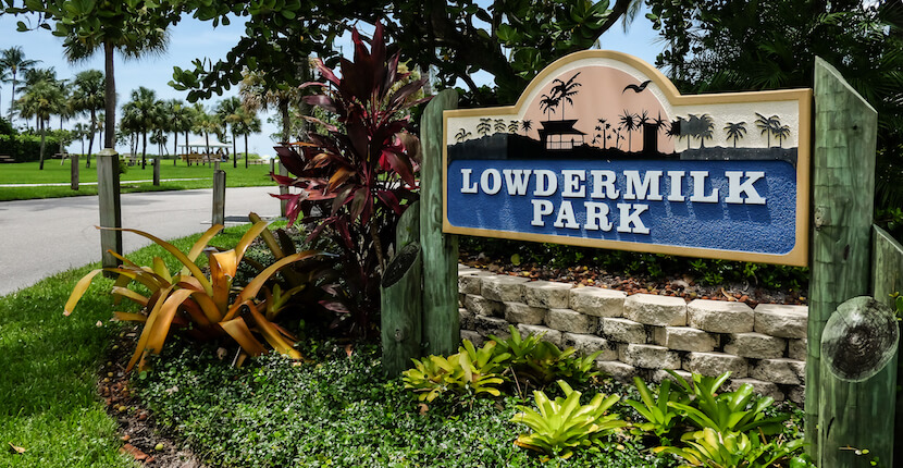 MustDo.com | Lowdermilk Park on Naples Beach is a popular beachfront park with a duck pond, two children's playgrounds, sand volleyball courts, picnic tables, concession, restrooms, and outdoor showers. Photo by Mary Carol Fitzgerald.
