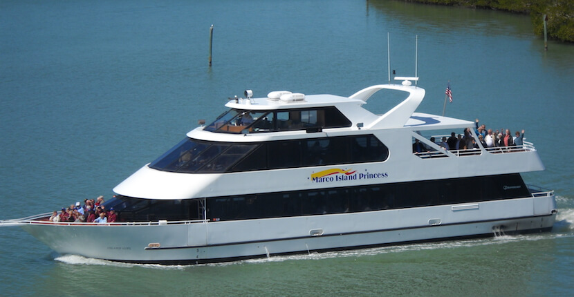 MustDo.com | Relax on calm waters aboard Sunshine Tours & Charters beautiful 90' Marco Island Princess for a spectacular sightseeing, sunset, or nature and history cruise. Marco Island, Florida.