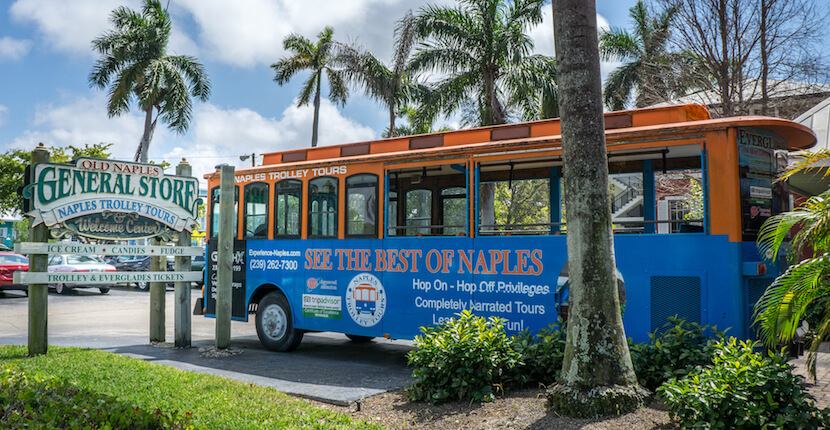 MustDo.com | See more than 100 Naples, Florida area points of interest during a narrated tour aboard Naples Trolley Tours' vintage trolley. Photo by Jennifer Brinkman.