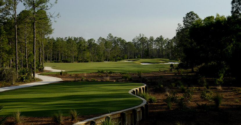 MustDo.com | Hole No. 1 at Old Corkscrew Golf Club in Estero near Ft Myers, Florida. Must Do Visitor Guides Florida vacation information.
