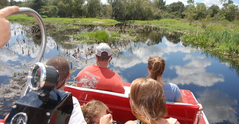 MustDo.com | See Florida wildlife including alligators on a Peace River Airboat Tour on the Peace River in Arcadia near Sarasota, Florida.