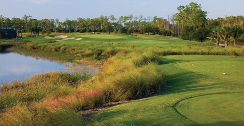 MustDo.com | Pelican Preserve Golf Club, a 27-hole Chip Powell designed championship course meandering through the breathtaking Florida landscape. The water, sand, and grass hollow hazards mean seasoned and amateur golfers will enjoy a challenge.