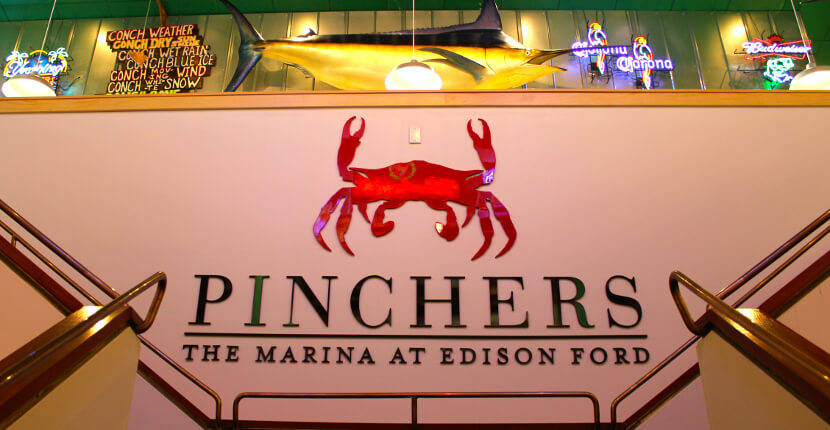 Pinchers Crab Shack restaurant at The Marina at Edison Ford Fort Myers, Florida USA. Photo by Nita Ettinger Must Do Visitor Guides MustDo.com