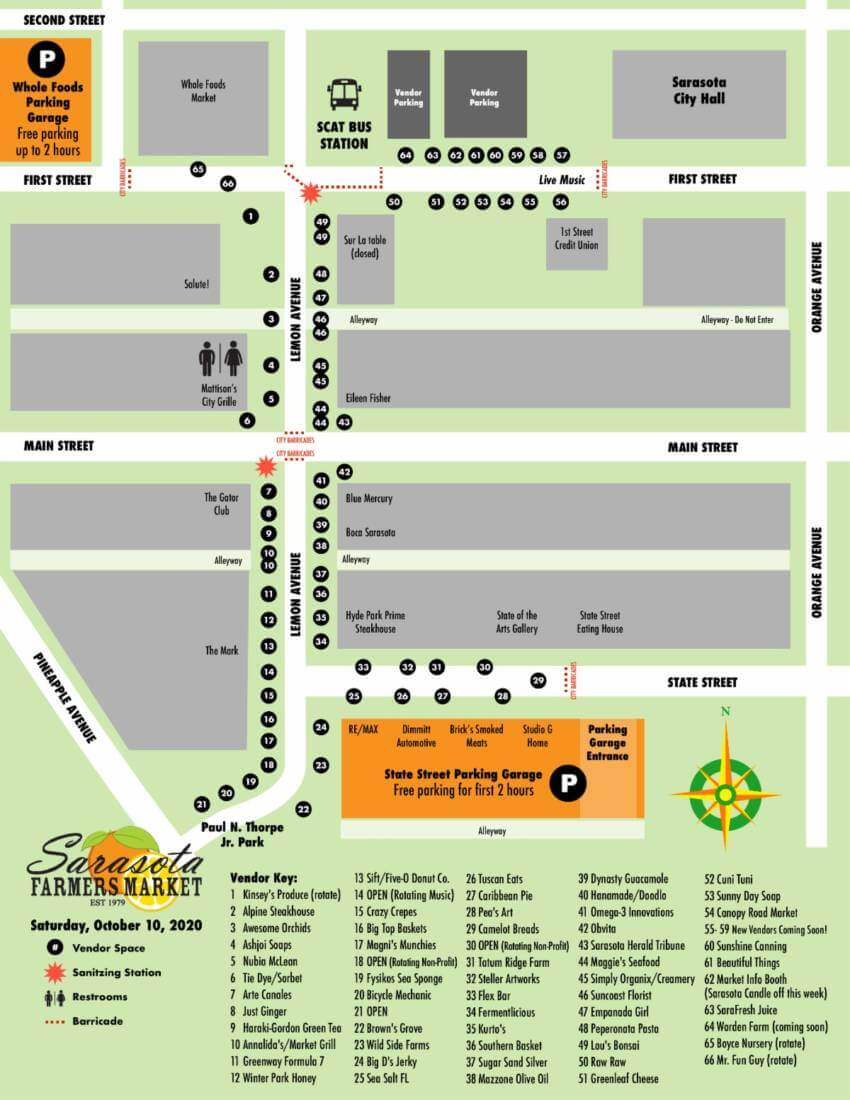 Downtown Sarasota Farmers Market vendor map