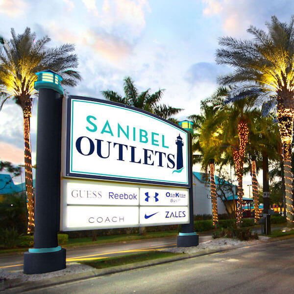 Save on more than 40 designer and name brand stores. Sanibel Outlets feature shaded breezy walkways, an outdoor children's' play area and free Wi-Fi in common areas. | Must Do Visitor Guides