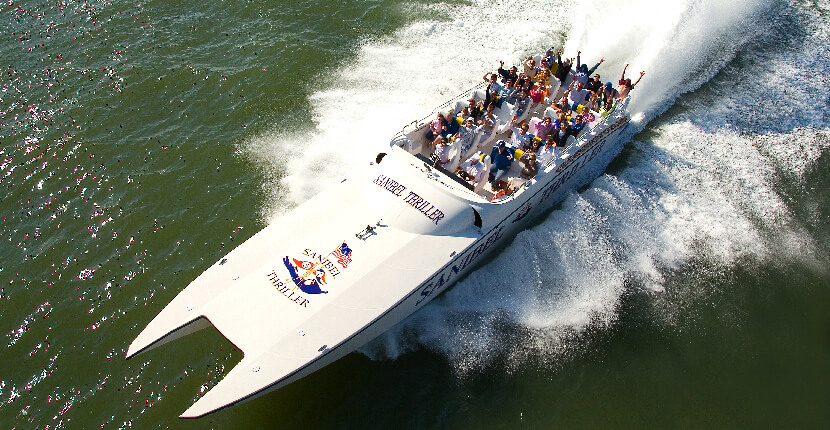 The Sanibel Thriller is a 43-passenger, 55' Super Catamaran billed as the area's most exciting boat tour and is part sightseeing tour, part historical tour, and a lot of dolphin spotting!