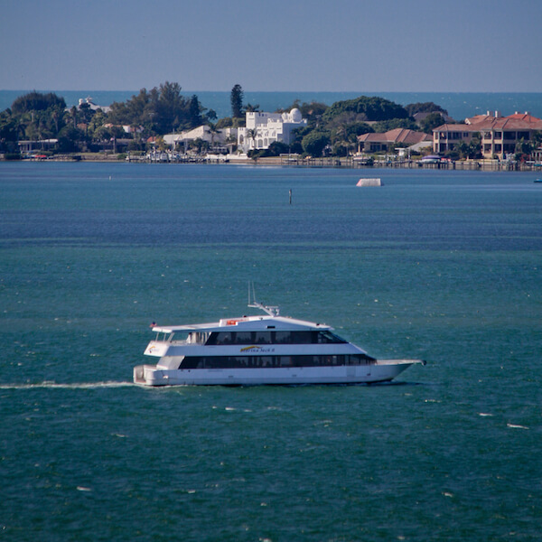 Cruise, dine and enjoy the sights aboard the luxurious 96 foot Marina Jack II cruising yacht. Sarasota, Florida.